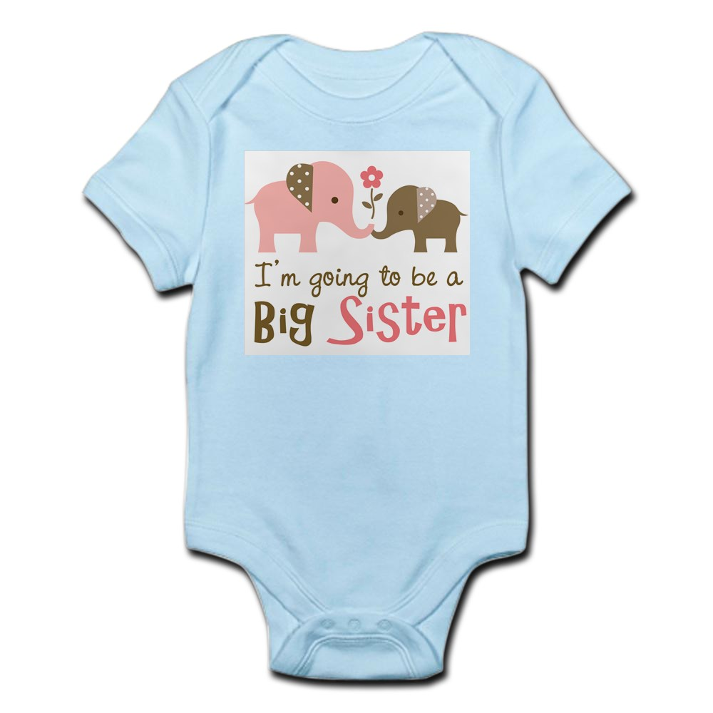 743531766 CafePress Big Sister To Be Mod Elephant Body Suit Baby Bodysuit