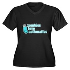 Funny! Zombies Love Asthmatics Women's Plus Size V