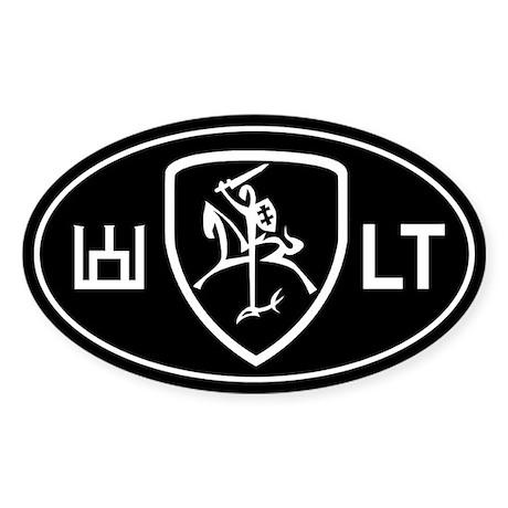 Black and White Vytis Sticker (Oval)