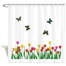 Tulip Flowers and Butterflies Shower Curtain