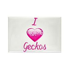 I Love/Heart Geckos Rectangle Magnet