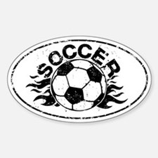 Personalized Soccer Flames Sticker (Oval)