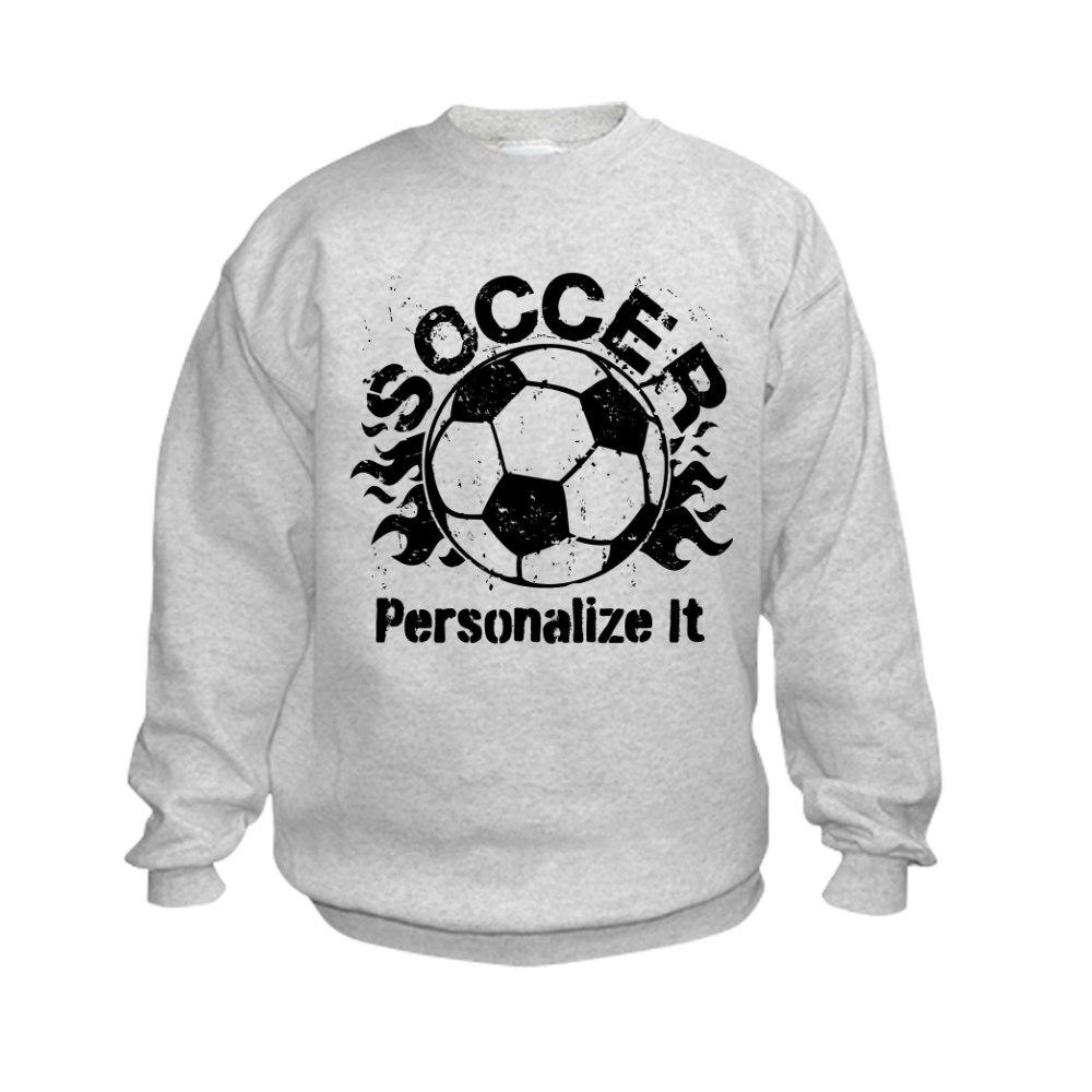 CafePress Personalized Soccer Flames Kids Sweatshirt