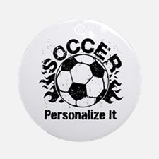 Personalized Soccer Flames Ornament (Round)