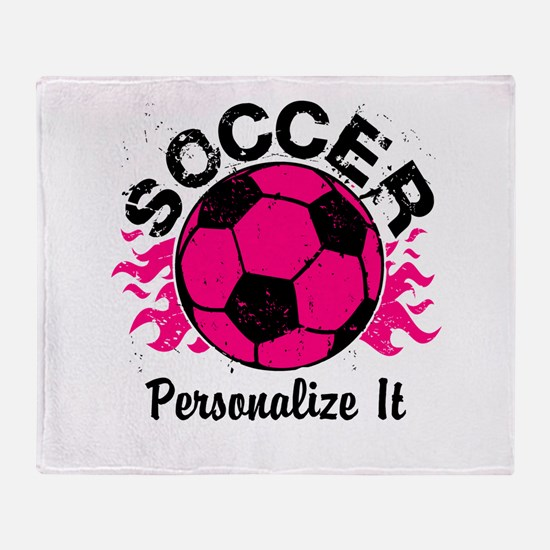 Personalized Soccer Flames Throw Blanket