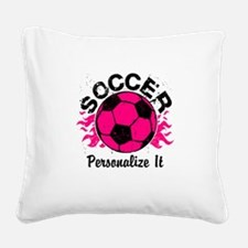 Personalized Soccer Flames Square Canvas Pillow