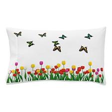 Tulip Flowers and Butterflies Pillow Case