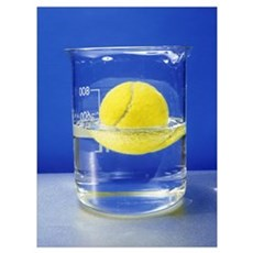 Tennis ball floating in water Poster