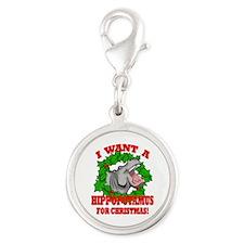 Hippopotamus for Christmas Silver Round Charm