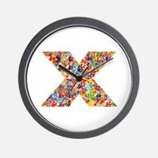 X on White Wall Clock