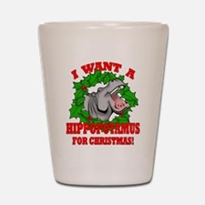 Hippopotamus for Christmas Shot Glass