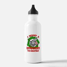 Hippopotamus for Christmas Water Bottle