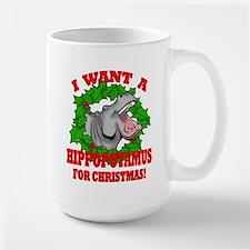 Hippopotamus for Christmas Large Mug