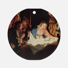 Christ in the Manger Ornament (Round)