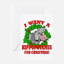 Hippopotamus for Christmas Greeting Card