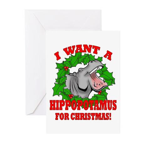 Hippopotamus for Christmas Greeting Cards (Pk of 1