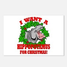 Hippopotamus for Christmas Postcards (Package of 8