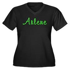 Arlene Glitter Gel Women's Plus Size V-Neck Dark T