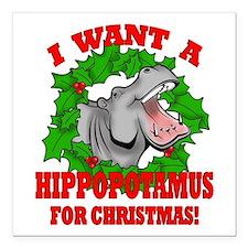 """Hippopotamus for Christmas Square Car Magnet 3"""" x"""