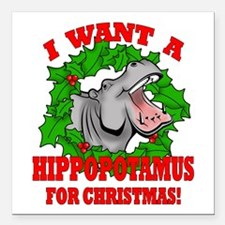 "Hippopotamus for Christmas Square Car Magnet 3"" x"