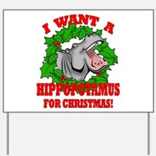 Hippopotamus for Christmas Yard Sign
