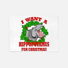 Hippopotamus for Christmas 5'x7'Area Rug