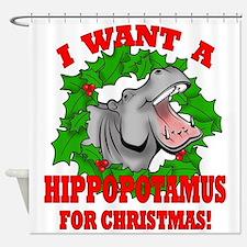 Hippopotamus for Christmas Shower Curtain