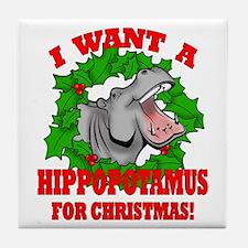 Hippopotamus for Christmas Tile Coaster