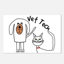 Vet Tech dog and cat.PNG Postcards (Package of 8)