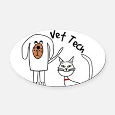 Vet Tech dog and cat.PNG Oval Car Magnet