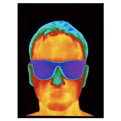 Thermogram of the front view of a man's h Canvas Art
