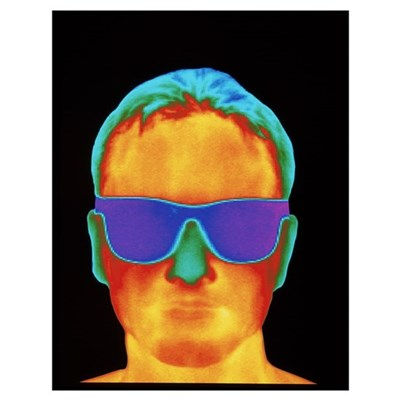 Thermogram of the front view of a man's h Poster