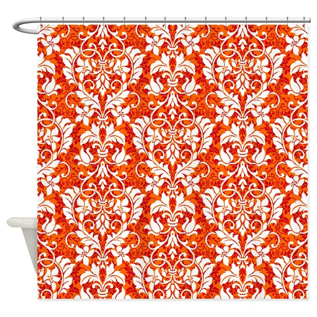 Cafe Au Lait Bedroom With Damask Wallpaper: Orange Damask Shower Curtain By GlamourGirls2
