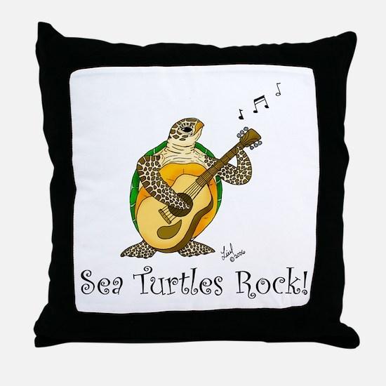 Sea Turtles Rock Throw Pillow