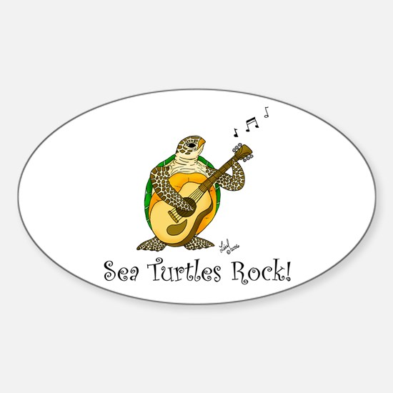 Sea Turtles Rock Oval Decal