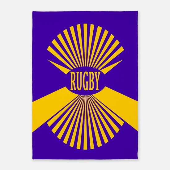 Rugby Spokes Gold Purple 5'x7'Area Rug