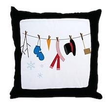 Snowman Clothing Throw Pillow