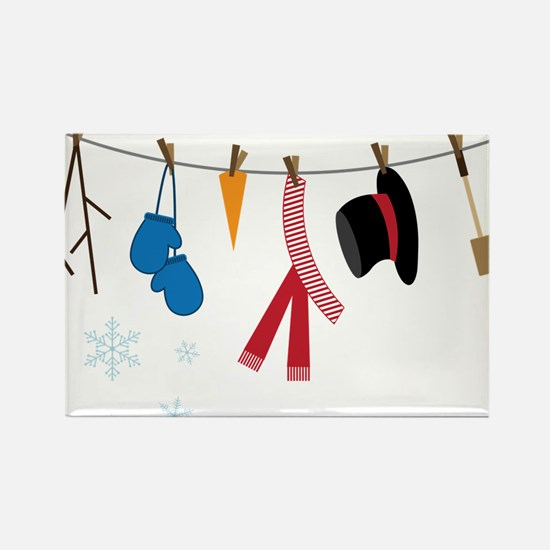 Snowman Clothing Rectangle Magnet