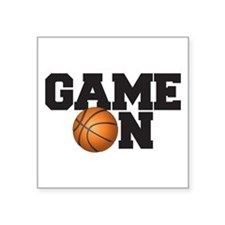 """Game On Basketball Square Sticker 3"""" x 3"""""""