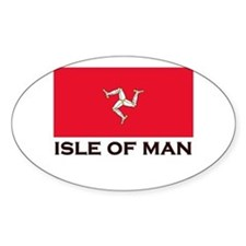 The Isle Of Man Flag Gear Oval Stickers