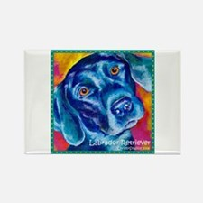 Black Lab Art Rectangle Magnet