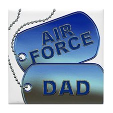 Air Force Dad Dog Tags Tile Coaster