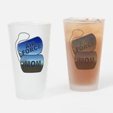 Air Force Mom Dog Tags Drinking Glass