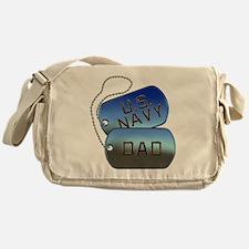 Navy Dad Dog Tags Messenger Bag