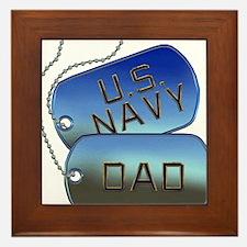 Navy Dad Dog Tags Framed Tile
