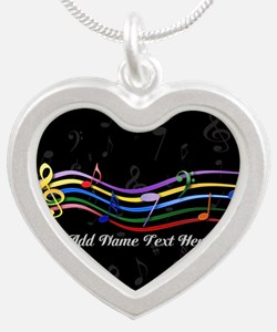 Musical rainbow notes 3 Silver Heart Necklace