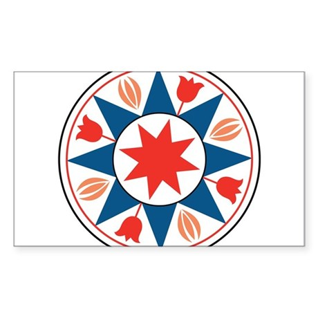 Eight Pointed Star Sticker (Rectangle)