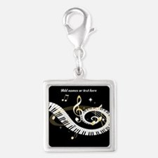 personalized music Silver Square Charm