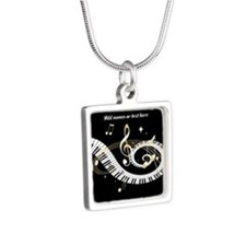 personalized music Silver Square Necklace