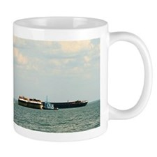 Mug With Towboat, Barges and Sailboat